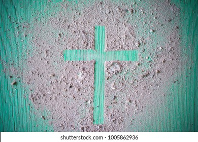 Ash wednesday cross, crucifix made of ash, dust as christian religion, Jesus, god, faith, holy, holiday,