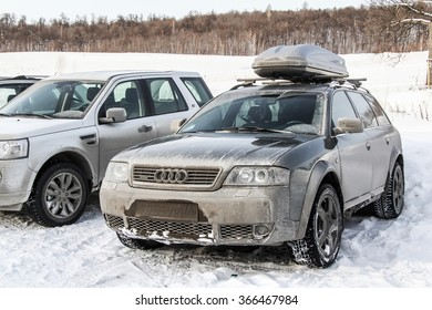 ASHA, RUSSIA - DECEMBER 31, 2011: Motor car Audi A6 Allroad at the snow covered countryside.
