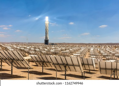 Ashalim Power Station. Power station Aschalim. The solar power station is built in the Negev desert south of the city of Beer-Sheva - Israel