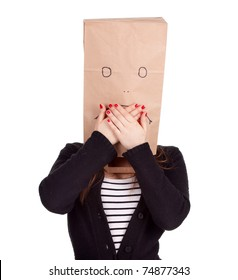 ashamed young woman in sad ecological paper bag on head, series