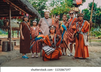 Ashaninkas and tourist group, natives of the jungle of Peru, July 2015 Chanchamayo.