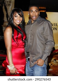 """Ashanti and Nelly attend the World Premiere of """"Resident Evil: Extinction"""" held at the Planet Hollywood Resort & Casino in Las Vegas, Nevada, United States on September 20, 2007."""