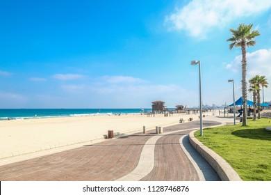 Ashdod - city in Israel. City beach on the Mediterranean Sea.