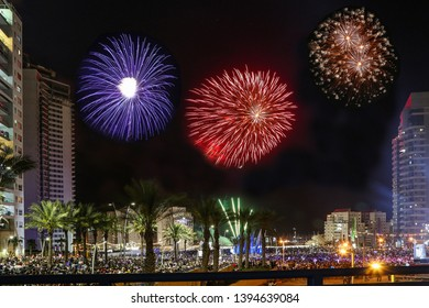 Ashdod - city in Israel - Independence Day firework.