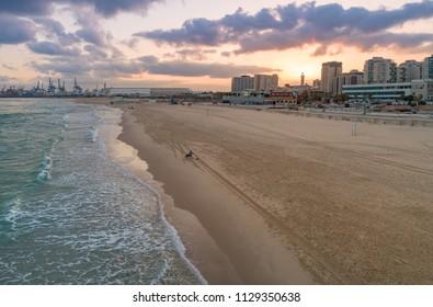 Ashdod, Israel - 3 July, 2018: The Ashdod coastline at dawn.