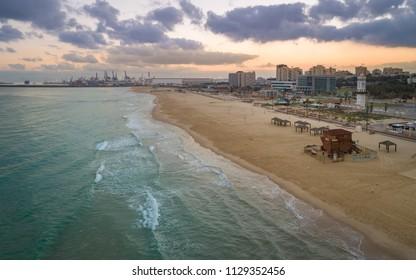 Ashdod, Israel - 3 July, 2018: A view of Ashdod Port in Southern Israel along the Mediterranean coastline.