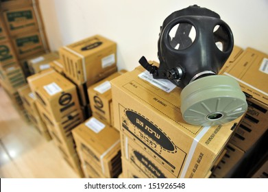 ASHDOD, ISRAEL - APRIL 6: Gas masks in Gas masks distribution station on April 6 2010. Reports of a possible American attack in Syria have caused a sharp rise in the number of Israelis seeking gas masks.