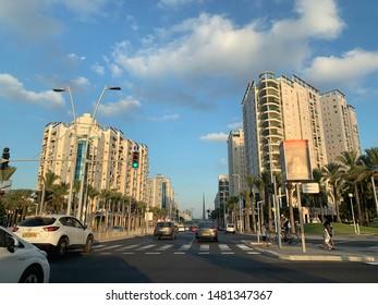 ASHDOD, ISRAEL - AUGUST 10, 2019: Menachem Begin Boulevard in Ashdod, the main street of the city