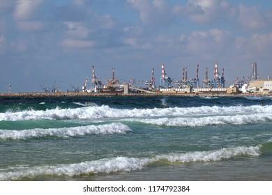 ASHDOD, ISRAEL -  AUGUST 18, 2018: Port in Ashdod on the Mediterranean Sea