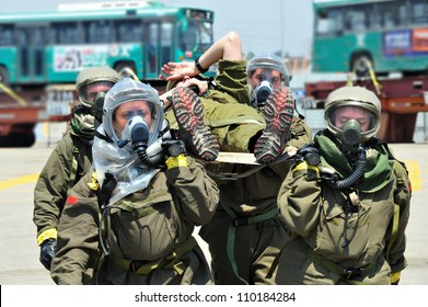 ASHDOD, ISRAEL - JUNE 22 2011:The Israeli emergency forces carry out an exercise which simulates a chemical and biological rocket attack on Ashdod Port, Israel.