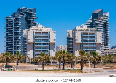 Ashdod, Israel - May 08, 2012: New built urban area on the beach of Ashdod Israel panorama. Contemporary architecture style of new built and very expensive apartments buildings in Ashdod.