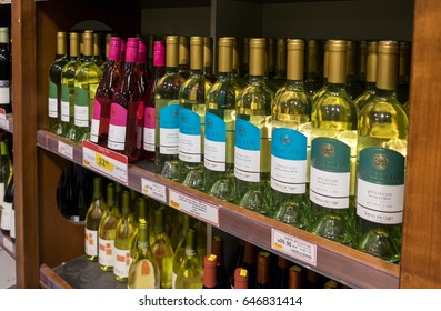 ASHDOD, ISRAEL - MAY 21, 2017: rows of israeli wine bottles for sale on shelf at food supermarket