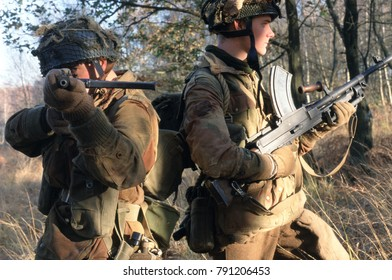 Ashdown Forest reenactors wear the uniforms of British Paratrooper's of the Arnhem conflict 1944. This image was taken at Ashdown Forest Kent 1998
