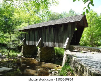 ASHEBORO, NC / USA - JAN 2015: The Pisgah Covered Bridge in Asheboro is only one of two left standing in North Carolina