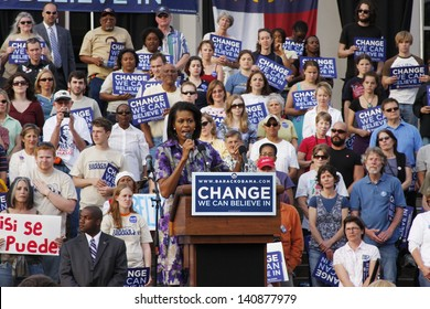 ASHEVILLE, NC - May. 2: Michelle Obama, the wife of presidential candidate Barack Obama speaking at a podium during a campaign rally at the University of North Carolina Asheville on May 2, 2008.