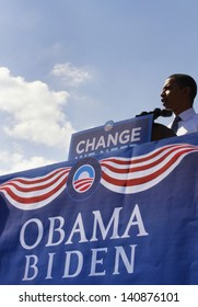 ASHEVILLE, NC - OCT. 5: Presidential candidate Barack Obama speaking at a podium during a campaign rally at Asheville High School on October 5, 2008.