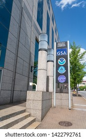 Asheville, NC / USA - May 10, 2019: This is a color photo of the sign outside of the Veach-Baley Federal Complex which houses the GSA, NOAA, 14th Weather Squadron and the CICS.