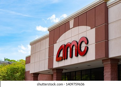 Asheville, NC / USA - May 28, 2019: This is the logo for AMC theaters which is an American chain of motion picture cinemas located in Asheville, NC.