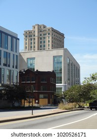 ASHEVILLE, NC / USA - SEPT 2015: Office buildings and skyline of downtown Asheville, North Carolina