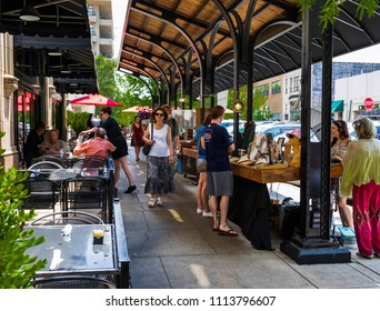 ASHEVILLE, NC, USA-10 JUNE 18:  A covered outside sales and dining area at the Grove Arcade, where local craftsmen display their wares.