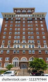 ASHEVILLE, NC, USA-10 JUNE 18:  The Battery Park hotel building, now serving as senior citizens' apartments.