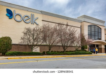 ASHEVILLE, NC, USA-1/18/19: A Belk store in the Asheville mall on Tunnel Road.