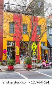 """ASHEVILLE, NC, USA-1/18/19: A colorful store in downtown Asheville, called """"The Loft"""", on Broadway St."""