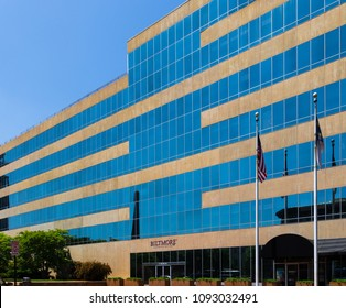 ASHEVILLE, NC, USA-13 MAY 2018:The seven story, modern-profile Biltmore Corporate office building sets on Pack Square in Asheville, NC, USA.
