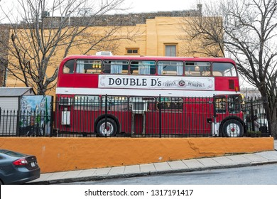 ASHEVILLE, NC, USA-2/16/19: Double D's coffee & Desserts is in a double decker bus, located on Biltmore Avenue in center city.