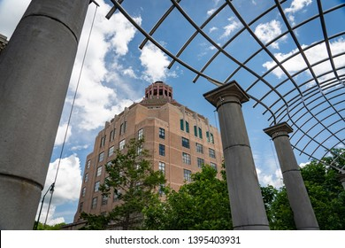 Asheville, NC/USA - May 11, 2019: Asheville City Hall, the center of the city's government, is an historic Art Deco brick and stone office building located on City-County Plaza in Asheville, NC.