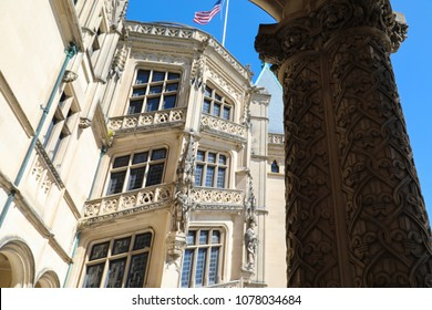 asheville, nc./usa-3/30/2018: biltmore house columns and ediface details