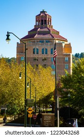 Asheville, North Carolina - 10/22/2018: Asheville City Hall, the center of Asheville's city government, is an historic Art Deco  building located on City-County Plaza in Asheville, North Carolina