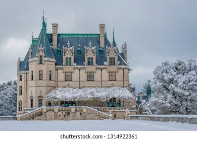 ASHEVILLE, NORTH CAROLINA -DECEMBER 9, 2017: A view of the front of the famous Biltmore Mansion in Asheville, North Carolina.