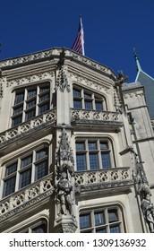Asheville, North Carolina - November 23, 2013 - Sculptural and architectural details on the façade of the Biltmore Estate