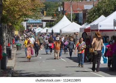 ASHEVILLE, NORTH CAROLINA -  SEPTEMBER 3, 2017: The LAAF Festival, a colorful and fun street festival with vendors, food, beer, music, buskers and other entertainments held in downtown Asheville, NC