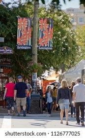ASHEVILLE, NORTH CAROLINA -  SEPTEMBER 3, 2017: The Living Asheville Arts Festival (LAAF), formerly  the Lexington Avenue Arts and Fun Festival, a colorful street festival in downtown Asheville