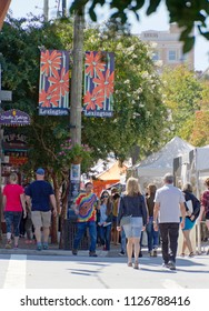 ASHEVILLE, NORTH CAROLINA -  SEPTEMBER 3, 2017: The Living Asheville Arts Festival (LAAF), formerly called the Lexington Avenue Arts and Fun Festival, a colorful and fun street festival with art, vend