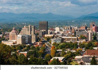 Asheville, North Carolina skyline in the fall