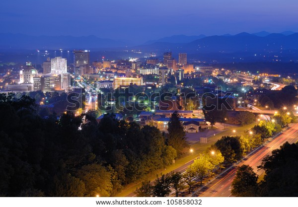 Asheville North Carolina Skyline Nestled Blue Stock Photo