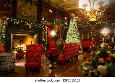 Asheville, North Carolina/ United States of America - December 9 2018: Biltmore Estate interior decorated for Christmas