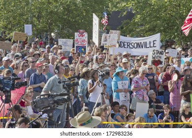ASHEVILLE, NORTH CAROLINA, USA - AUGUST 5; 2013: Political rally against North Carolina GOP politics and legislation on August 5; 2013 in Asheville's Pack Square