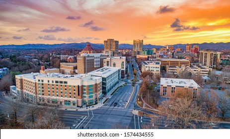 Asheville, North Carolina, USA Drone Skyline Aerial.