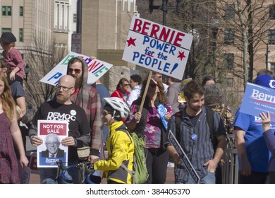 Asheville, North Carolina, USA - February 28, 2016:  Crowd of politically jaded supporters at a Bernie Sanders rally hold signs and seek change in America in downtown Asheville, NC