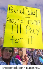 "ASHEVILLE, NORTH CAROLINA, USA - JANUARY 20, 2018: A woman  in the 2018 Women's March holds a sign saying ""Build a Wall Around Trump, I'll Pay For It"" in reference to the Mexican border wall he wants"