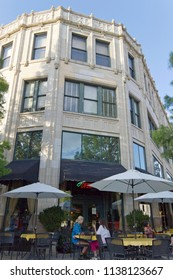 ASHEVILLE, NORTH CAROLINA, USA - JUNE 29, 2017: The historical Grove Arcade building on Battery Hill in downtown Asheville popular with  tourists for its architecture, shops, galleries and restaurants