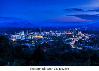 ASHEVILLE, NORTH CAROLINA, USA- JUNE 22, 2015: Twilight scene overlooking Asheville, a mountain town in western North Carolina