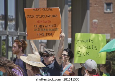 Asheville, North Carolina, USA - May 23, 2015: American activists protest Monsanto and its Genetically modified foods (GMOs) by wearing costumes and holding protest signs in a nationwide event