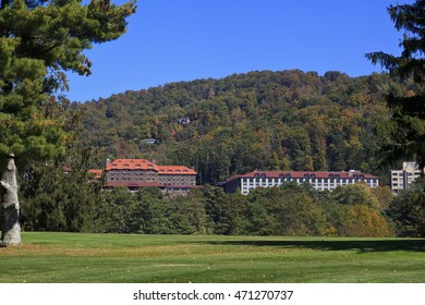 Asheville, North Carolina, USA - October 23, 2014: Grove Park Inn in Asheville, North Carolina in the fall