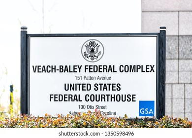 Asheville, USA - April 19, 2018: Sign for Veach-Baley Federal complex, United States courthouse and government agencies