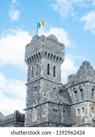 ASHFORD CASTLE, IRELAND - AUGUST 10, 2018: The tower at Ashford Castle, a medieval and Victorian castle that has been turned into a five-star hotel near Cong on the Mayo-Galway border in Ireland.